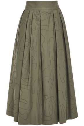 BRUNELLO CUCINELLI Sequined pleated cotton-blend twill maxi skirt