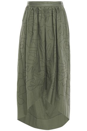 BRUNELLO CUCINELLI Asymmetric bead-embellished cotton-blend twill skirt