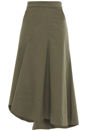 BRUNELLO CUCINELLI Asymmetric cotton-blend twill skirt