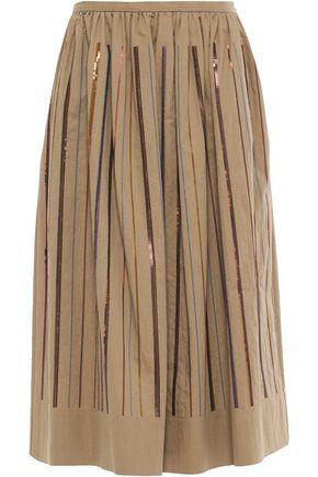 BRUNELLO CUCINELLI ギャザー入り 装飾付き コットン混ツイル ミディスカート