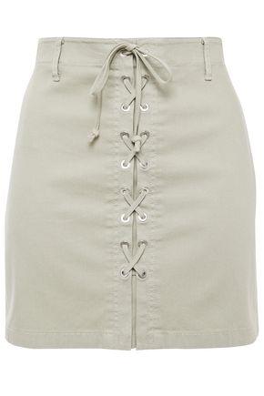 J BRAND Lace-up cotton-blend mini skirt