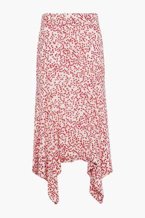 GANNI Asymmetric floral-print crepe midi skirt