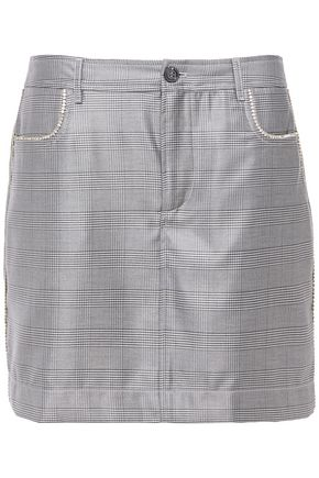 GANNI Paloma crystal-embellished checked silk and wool-blend mini skirt