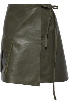 GANNI Leather mini wrap skirt