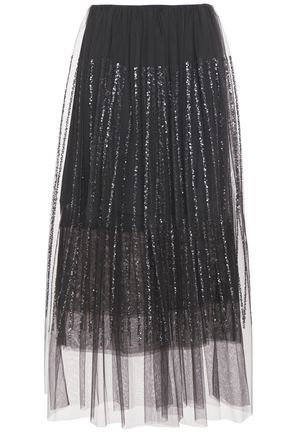BRUNELLO CUCINELLI Layered gathered sequin-embellished tulle midi skirt