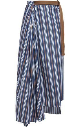 BRUNELLO CUCINELLI Draped wrap-effect striped cotton-poplin midi skirt