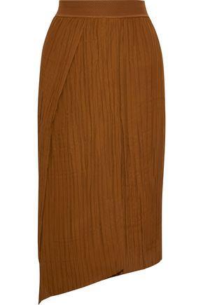 VINCE. Wrap-effect plissé-crepe midi skirt