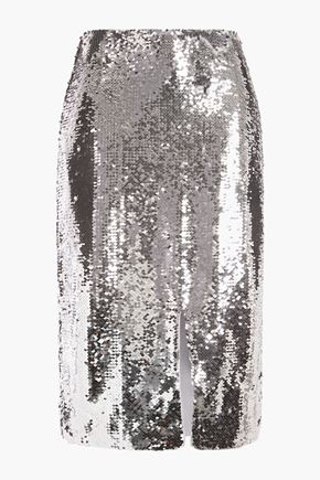 GANNI Sequined tulle pencil skirt