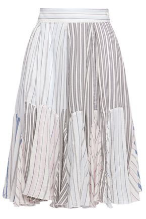 JW ANDERSON Pleated striped cotton-jacquard skirt