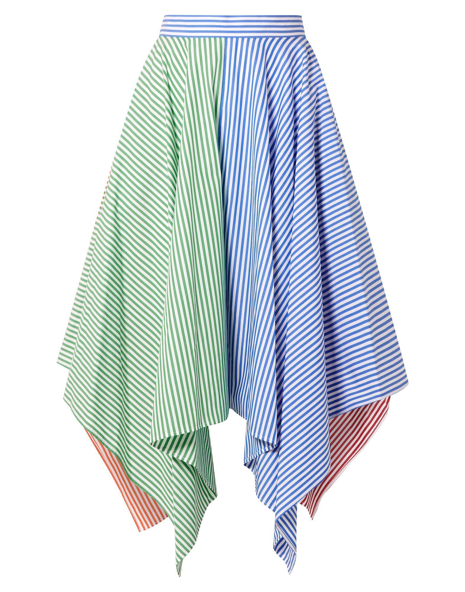 《セール開催中》MDS STRIPES レディース ひざ丈スカート スカイブルー 6 コットン 100%
