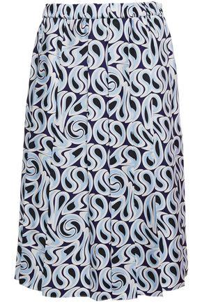 MARNI Pleated printed silk-twill skirt