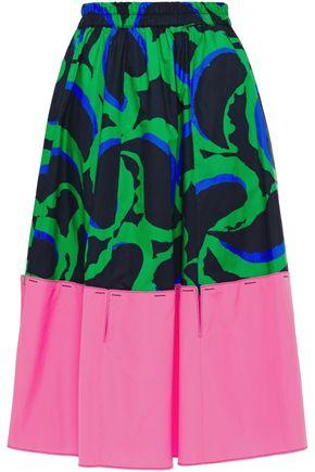 MARNI Cutout printed cotton-poplin skirt