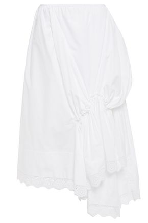 SIMONE ROCHA Asymmetric gathered broderie anglaise-trimmed cotton-poplin skirt
