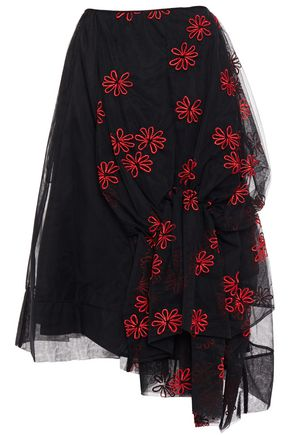 SIMONE ROCHA Asymmetric gathered embroidered tulle skirt