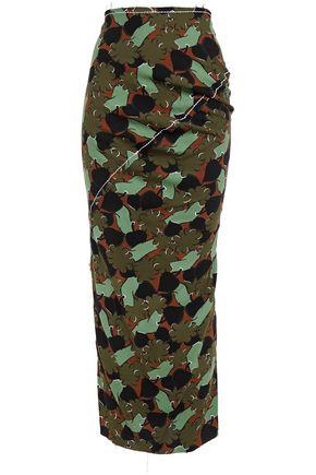 MARNI Printed satin-crepe midi pencil skirt