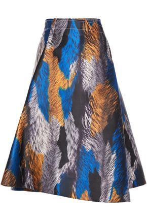 MARNI Flared printed twill skirt