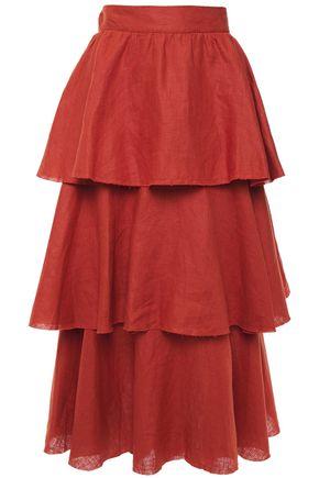 JOHANNA ORTIZ تنورة متوسطة الطول مصنوعة بطبقات من الكتان