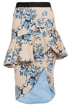 JOHANNA ORTIZ Entre Dos Aguas ruffled cotton-blend twill peplum skirt