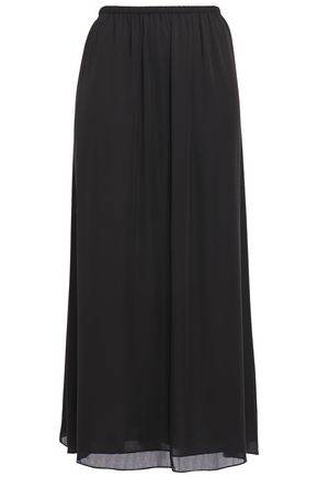 THEORY Gathered silk-charmeuse midi skirt