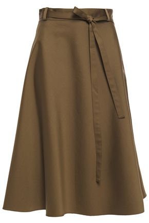 THEORY Flared belted cotton-twill wrap skirt