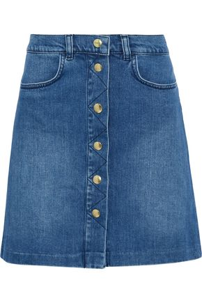 FRAME Claire faded denim skirt