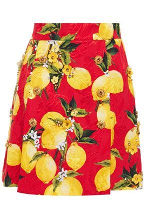 DOLCE & GABBANA 装飾付き プリントコットン混ジャカード ミニスカート