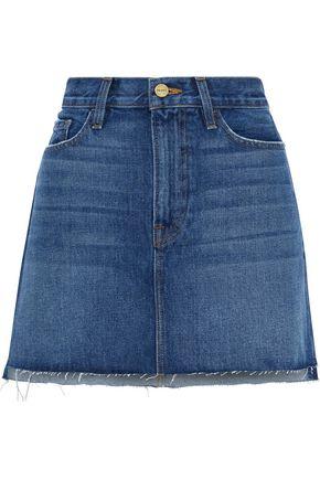 FRAME Distressed denim mini skirt