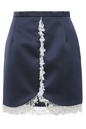 CHRISTOPHER KANE Bead-embellished duchesse-satin mini skirt