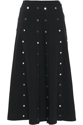 CHRISTOPHER KANE Button-detailed pleated twill midi skirt