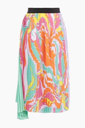 EMILIO PUCCI Asymmetric pleated printed silk-blend crepe de chine skirt