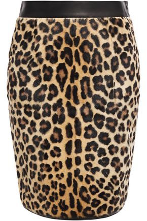 ROBERTO CAVALLI Leopard-print calf-hair and stretch-knit pencil skirt