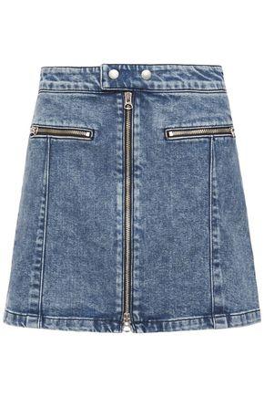 RAG & BONE Isabel zip-detailed faded denim mini skirt