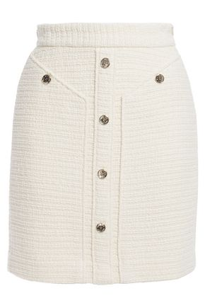 MAJE Button-embellished cotton-tweed mini skirt