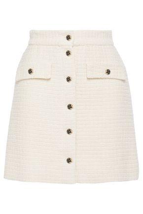 MAJE Button-detailed cotton-tweed mini skirt