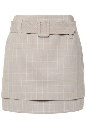 MAJE Belted layered Prince of Wales checked woven mini skirt