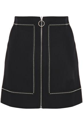 MAJE Studded zip-detailed woven mini skirt