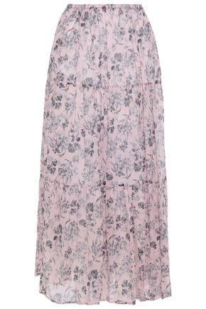 MAJE تنورة متوسطة الطول وبتصميم ملموم من القطن الرقيق المطبع بالورود