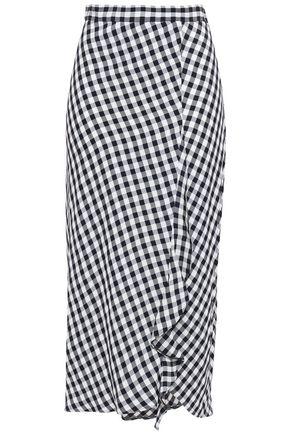 MAJE Split-front ruffled gingham woven midi skirt