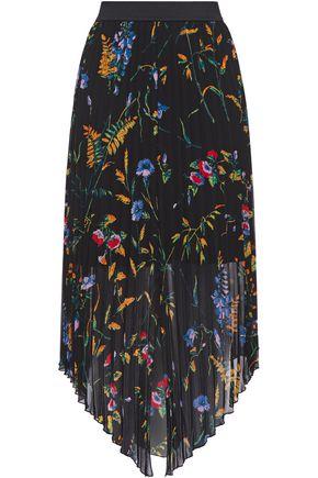 MAJE تنورة متوسطة الطول وغير متماثلة من قماش جورجيت المطبع بالورود