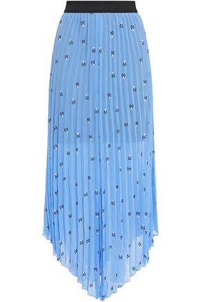 MAJE Asymmetric pleated embroidered crepe midi skirt