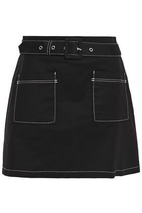 MAJE Jombi belted stretch-cotton mini skirt
