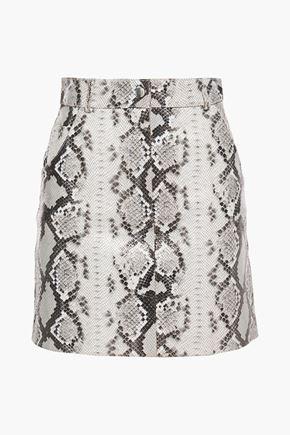 MAJE Snake-effect leather mini skirt