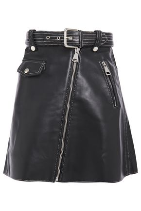 MAJE Belted zip-detailed leather mini skirt