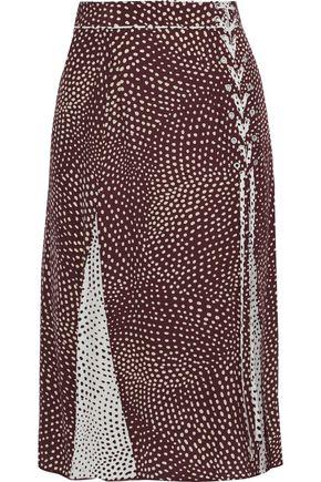 RAG & BONE Dirdre lace-up polka-dot crepe de chine skirt