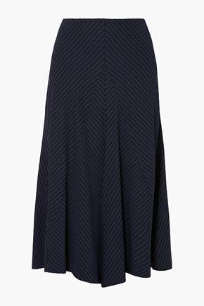 CHLOÉ Pinstriped crepe midi skirt