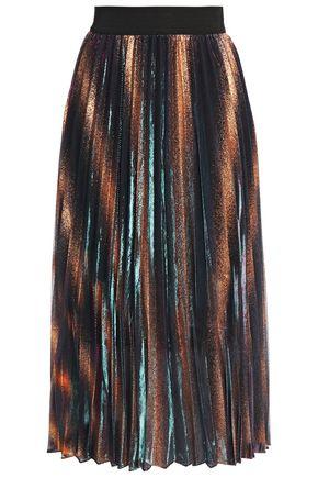 MAJE Jaja pleated metallic coated woven midi skirt