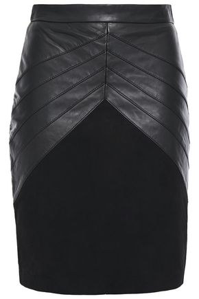 BA&SH Paneled suede and leather mini skirt