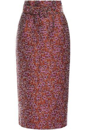 ANTONIO BERARDI Belted bouclé-tweed midi pencil skirt