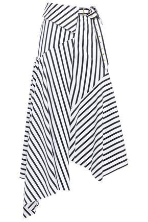 MARQUES' ALMEIDA Asymmetric belted striped cotton-poplin midi wrap skirt