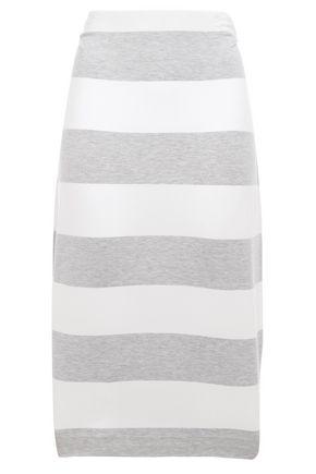 NINETY PERCENT Striped Tencel-blend jersey midi pencil skirt